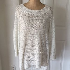 White Open knit light weight Sequin all over Top